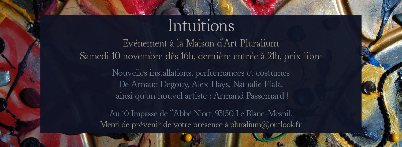 Intuitions, événement artistique avec Arnaud Degouy, Alex Hays, Nathalie Fiala et Armand Passemard