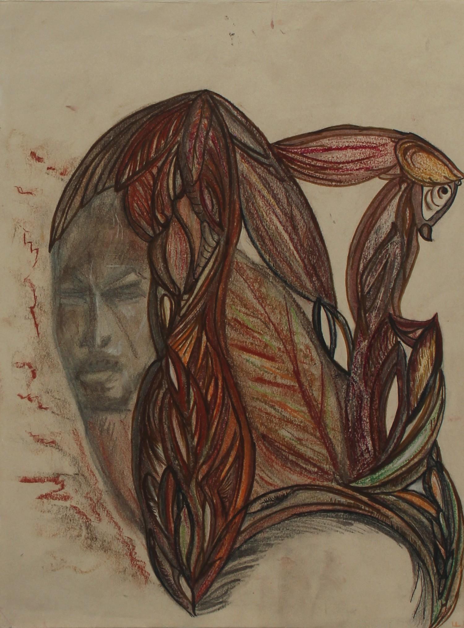 Tête derrière savane par Nathalie Fiala